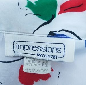 Impressions Tops - IMPLESSIONS VINTAGE BLOUSE BUTTONS PRINTE SZ 22